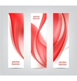 set of abstract wavy red banners vertical