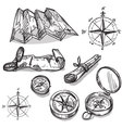Set of hand drawn compasses and maps vector image