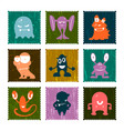 set of retro postage stamp funny monsters vector image