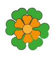 single yellow and green flower icon image vector image vector image
