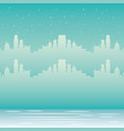 skyline city urban winter snow vector image