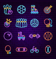 sport neon icons vector image vector image