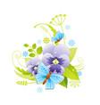spring flower icon viola pansy floral symbol vector image vector image