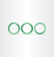 three green circles frames rings background vector image