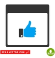 Thumb Up Hand Calendar Page Eps Icon vector image vector image