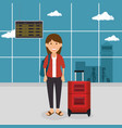 tourist woman with suitcase in the airport vector image