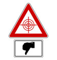 traffic sign with thumbs down for targets vector image vector image