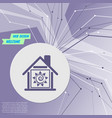 warm home icon on purple abstract modern vector image