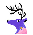 with deer head mountain landscape pine trees tiny vector image