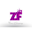 zf z f dots letter logo with purple bubbles vector image vector image