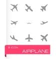 black airplane icon set vector image vector image