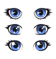 Blue Cartoon Anime Eyes Set vector image