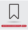 bookmark icon in modern style for web site and vector image vector image