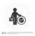 business man with progress chart icon vector image