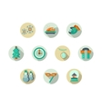 Christmas attributes round flat icons set vector image vector image