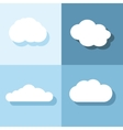 Cloud flat icons with shadow on blue background vector image