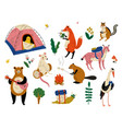 collection humanized animals characters having vector image vector image
