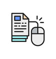 computer mouse with pages web library flat color vector image vector image
