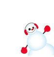 cute and funny christmas card character snowman vector image