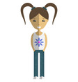 cute girl cartoon character wearing summer casual vector image vector image