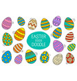 easter eggs set doodle and color style happy vector image vector image