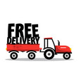 free delivery funky symbol with tractor isolated vector image