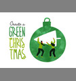 green christmas eco card people with pine tree vector image vector image
