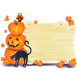 halloween signboard with pumpkins cat and owl vector image