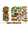 hand drawn burger with food ingredients vector image