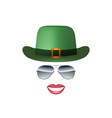 Hat Glasses and lips isolated on white background vector image vector image