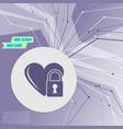heart lock icon on purple abstract modern vector image vector image