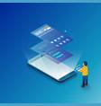 isometric ui flowchart mockup mobile application vector image vector image
