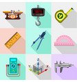 measure tools icons set flat style vector image vector image