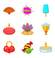 memorable event icons set cartoon style vector image vector image