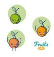 oranges cute fruits cartoons vector image vector image