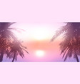palm trees against a sunset ocean landscape vector image vector image