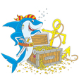 pirate shark with a treasure chest vector image vector image