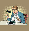 politician eats the bomb concept of war and peace vector image vector image