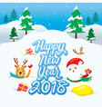 santa claus and reindeer on snowdrift vector image vector image