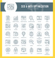 seo outline icons vector image vector image