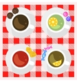 set coffee and tea cups top view on a checkered vector image vector image
