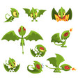 set of cartoon green baby dragon character in vector image vector image