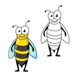 Smiling cartoon black and yellow striped wasp vector image vector image