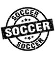 soccer round grunge black stamp vector image vector image