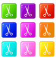 stationery scissors icons 9 set vector image vector image
