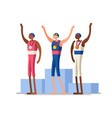 swimming athletes gold medal podium vector image vector image