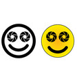 twin dual lens mobile phone smiley face icon two vector image