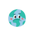 unhappy sad earth planet character flat vector image vector image