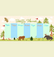 weekly planner with forest animals and birds vector image