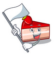 with flag strawberry cake mascot cartoon vector image
